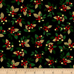 Joyful Metallic Holiday Berry Black Fabric