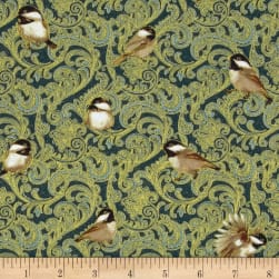 Chickadees & Berries Metallic Many Chickadees Blue Fabric