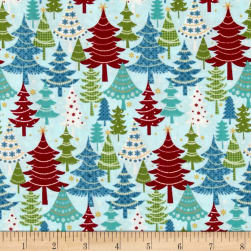 Jolly Penguin & Friends Festive Trees Turq/Multi Fabric