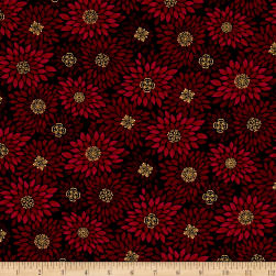 Golden Holiday Metallic Poinsettia Burst Red/Black