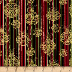 Golden Holiday Metallic Festive Stripe/Ornament Multi/Gold Fabric
