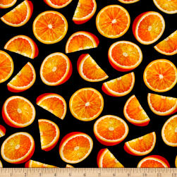 Fresh Squeezed Orange Black Fabric