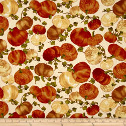 Leaf Into Autumn Pumkin Harvest Cream Fabric