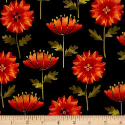 Leaf Into Autumn Flower Black Fabric