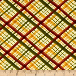 Leaf Into Autumn Plaid Tan Fabric