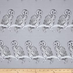 Halloween Gothic Owl Metallic Gray/Silver Fabric