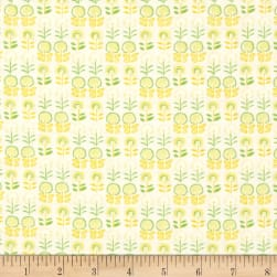 Bobo Baby Dandy Flower Yellow Pastel Fabric