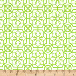Bahama Breeze Trendy Trellis White/Lime Fabric