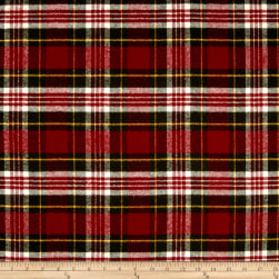 Primo Flannel Christmas Plaid Red Fabric