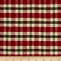 Primo Flannel Christmas Small Plaid Burgandy Fabric