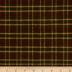 Primo Flannel Christmas Window Pane Green Fabric