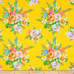Mostly Manor Lg Floral Yellow Fabric