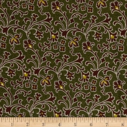 Cozies Flannel Harvest Scroll Green Fabric