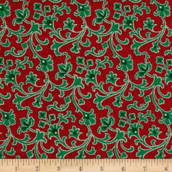 Cozies Flannel Christmas Scroll Red Fabric