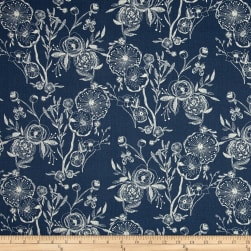 Art Gallery Millie Fleur Line Drawings Bluing Fabric