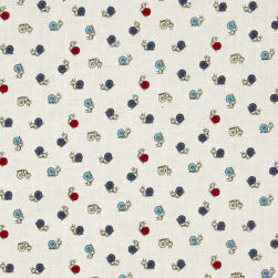 Thanks for the Flowers Snails Blue/Red Fabric