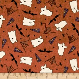 Pumpkin Party Flannel Ghosts And Bats Orange Fabric