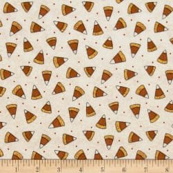 Pumpkin Party Flannel Candy Corn Cream Fabric