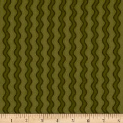Pumpkin Party Flannel Stitched Stripe Green Fabric