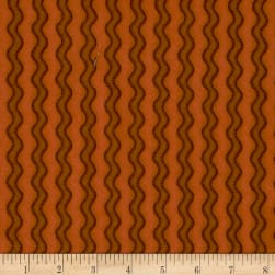 Pumpkin Party Flannel Stitched Stripe Orange Fabric