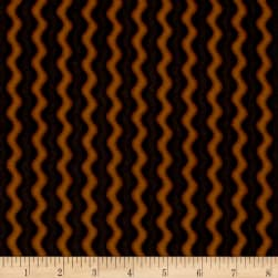 Pumpkin Party Flannel Stitched Stripe Orange Black Fabric