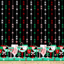 Michael Miller Holiday Party Candy Cane Cocktails Border Fabric