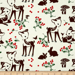Michael Miller Holiday Fawn Memories Cream Fabric