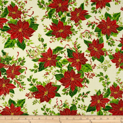 A Happy Christmas Pointsettia Ribbon Ecru Metallic Fabric