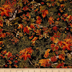 Into The Woods Fall Branches Black Fabric