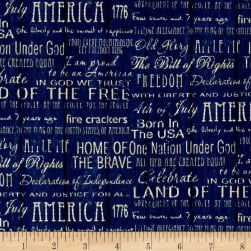 American Pride Proud To Be American Words Blue Fabric