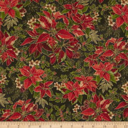 Yuletide Magic Large Poinsettia Green Metallic Fabric