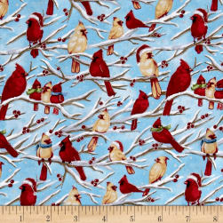Seasons Greetings Birds Blue/Green Metallic Fabric