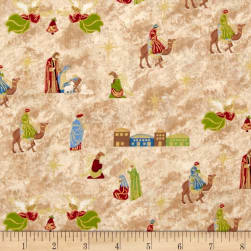 Silent Night Nativity Cream Metallic Fabric