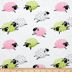 Susybee Lal The Lamb Leaping Sheep Pink Fabric