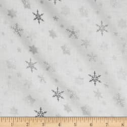Glimmering Tossed Snowflakes White/Silver