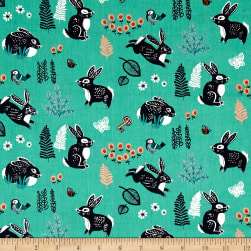 Birch Organic Hidden Garden Bunny Hop Green Fabric