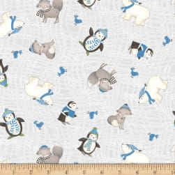 Snow Buddies Flannel Animals Gray Fabric