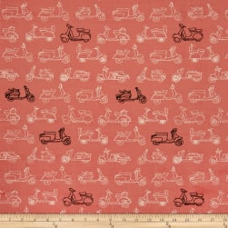 Birch Organic Trans Pacific Mopeds Coral Fabric