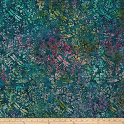 Island Batik Crystal Cove Butterfly Dragon Teal/Mauve Fabric