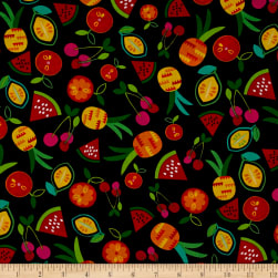 Kanvas Viva Brazil Passion Fruit Black Fabric