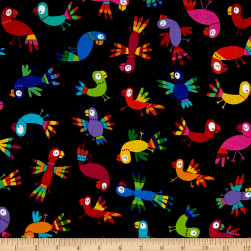 Kanvas Viva Brazil Rainbow Parrots Black Fabric