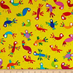 Kanvas Viva Brazil Rainbow Parrots Yellow Fabric