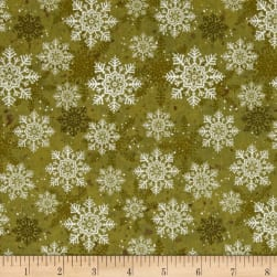Christmas Wishes Snowflakes Olive Fabric