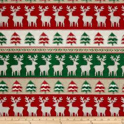 Craft Paper Christmas Reindeer Stripe Multi Fabric