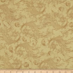 Sea Cottage Damask Caramel Fabric