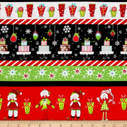Tinsel Toes Christmas Stripe Red & Green Fabric