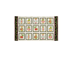 Christmas Elegance Ornament Blocks 24 In. Panel Cream/Black Fabric