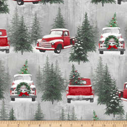 Holiday Traditions Scenic Red & Gray Fabric