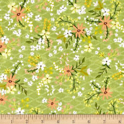 Blush & Blooms Mini Floral Avocado Fabric