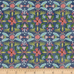 Blush & Blooms Floral Stripe Indigo Fabric